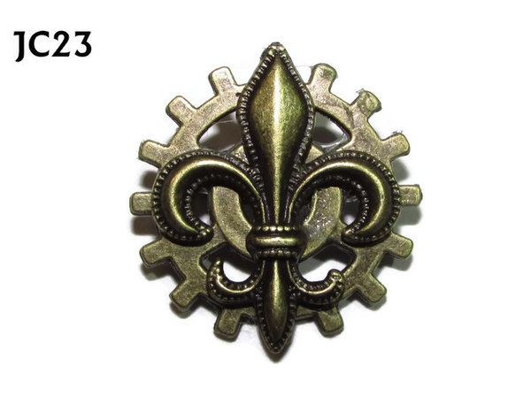 Badge, JC23, Bronze Fleur de Lis, Small Bronze Gear,(25mm dia.)