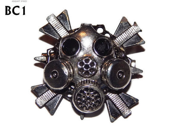 Badge/ Brooch, BC01, Gas Mask design black cross. (35x35mm approx)