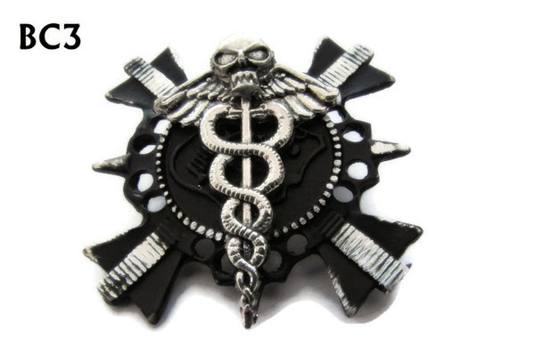 Badge/ Brooch, BC03, Warhammer design black cross. (35x35mm approx)