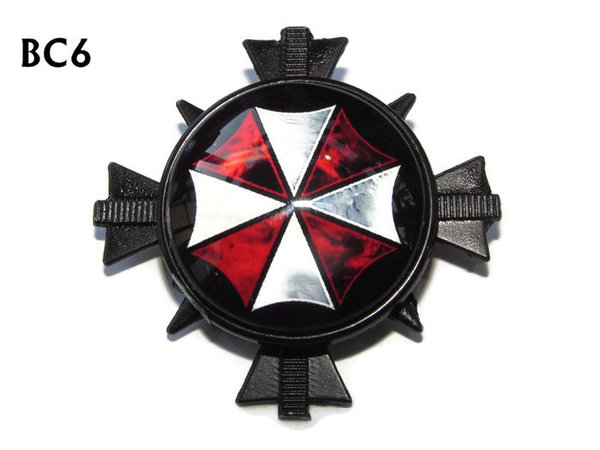 Badge/ Brooch, BC06, Umbrella Corp red design black cross. (35x35mm approx)