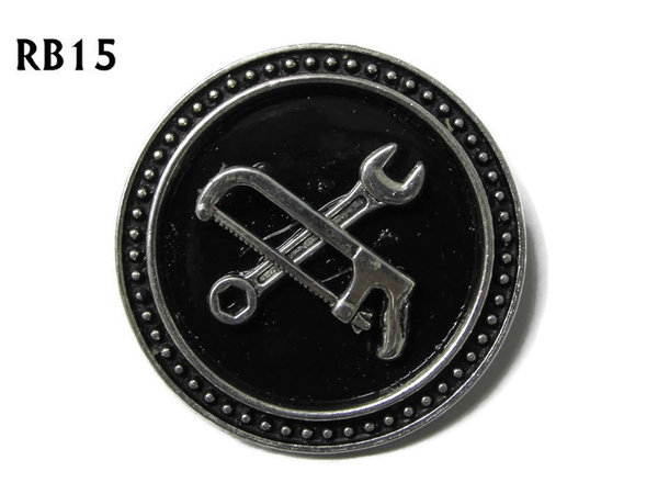 Badge / Brooch, RB15, Spanner & Hacksaw symbols, silver setting with black background (39mm dia.)