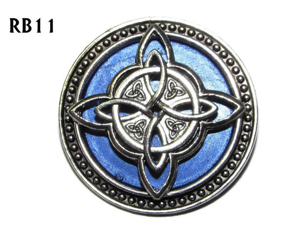 Badge / Brooch, RB11, Witch's Knot, silver setting with blue background (39mm dia.)