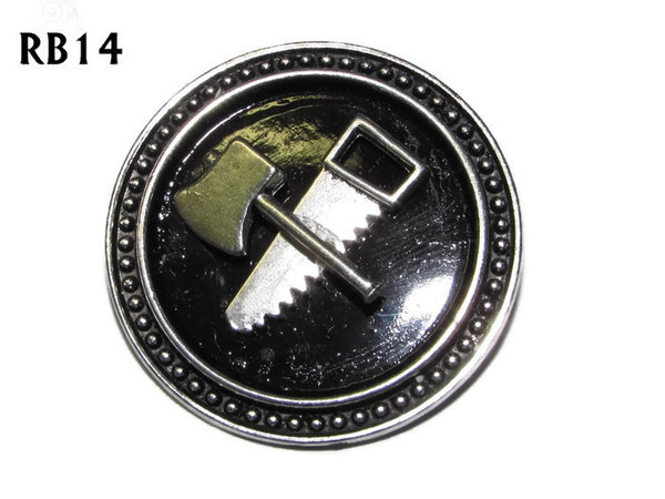 Badge / Brooch, RB14, Axe & Saw symbols, silver setting with black background (39mm dia.)