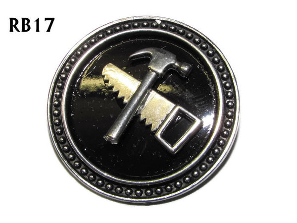 Badge / Brooch, RB17, Saw & Hammer symbols, silver setting with black background (39mm dia.)