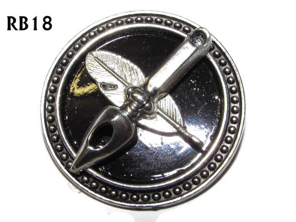 Badge / Brooch, RB18, Quill & Nib symbols, silver setting with black background (39mm dia.)