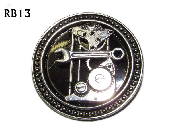 Badge / Brooch, RB13, Spanner & Pulley symbols, silver setting with black background (39mm dia.)