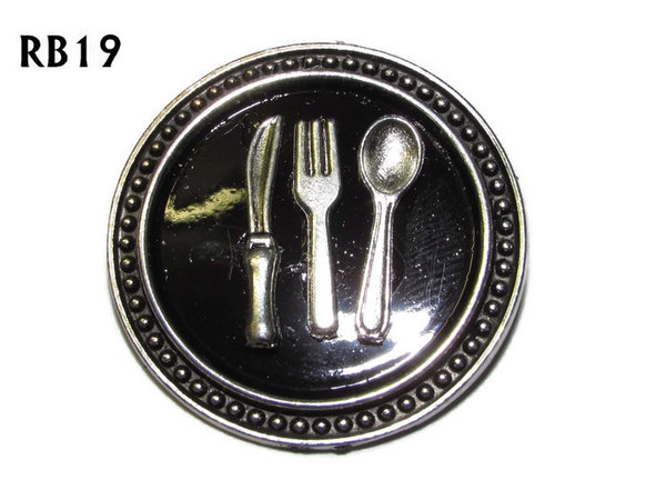 Badge / Brooch, RB19, Cutlery symbols, silver setting with black background (39mm dia.)
