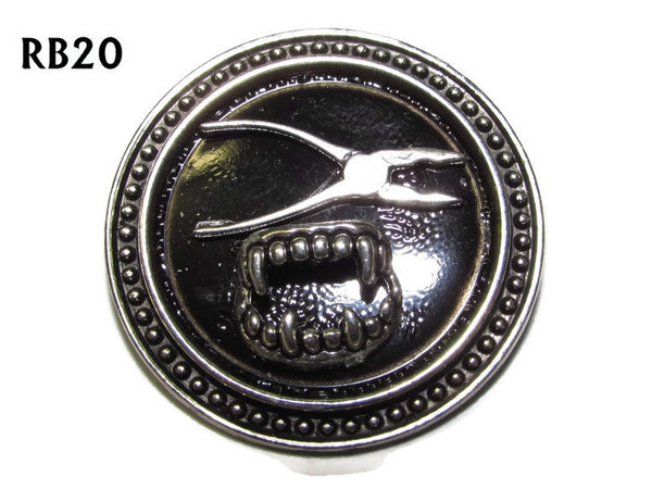 Badge / Brooch, RB20, Teeth & Pliers symbols, silver setting with black background (39mm dia.)