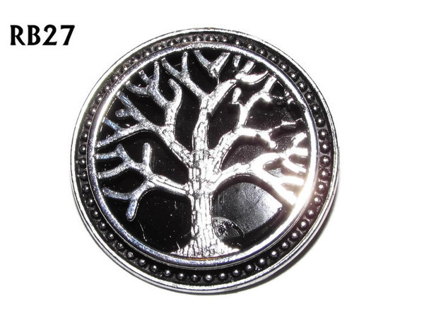 Badge / Brooch, RB27, Tree, silver setting with black background (39mm dia.)