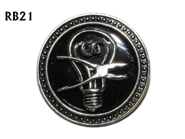 Badge / Brooch, RB21, Lightbulb & Pliers, silver setting with black background (39mm dia.)