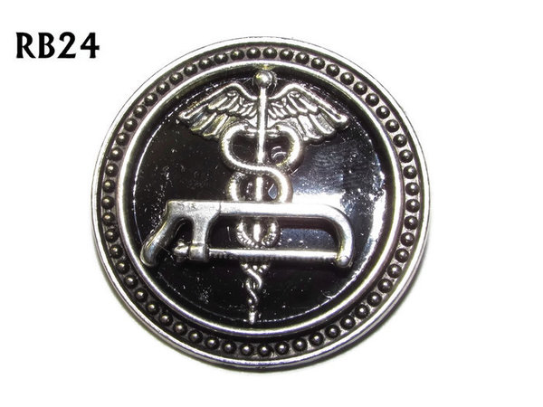 Badge / Brooch, RB24, Caduceus & Bonesaw symbols, silver setting with black background (39mm dia.)