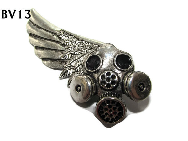 Badge / Brooch, BV13, Gas Mask - left , Silver Large Wing. (see notes for size)