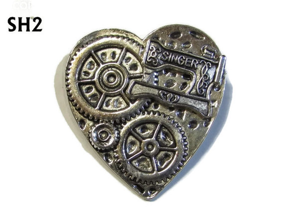 Badge / Brooch, SH02, Silver Heart,Sewing Machine  (38x42mm)
