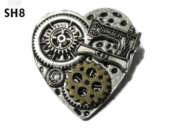 Badge / Brooch, SH08, Silver Heart, Sewing Machine & Gears  (38x42mm)