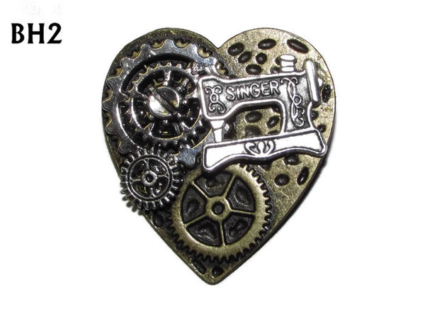 Badge / Brooch, BH02, Bronze Heart, Sewing Machine & Gears.  (38x42mm)
