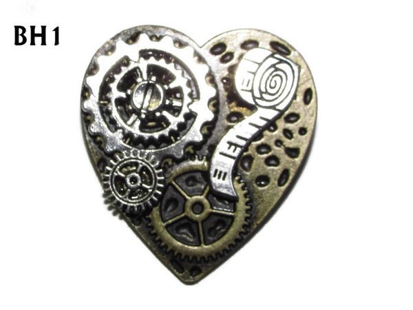 Badge / Brooch, BH01, Bronze Heart, Tape Measure & Gears  (38x42mm)
