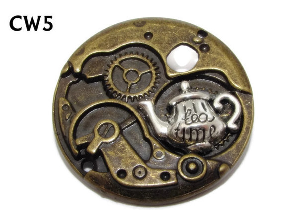 "Badge / Brooch, CW05, Teapot on bronze ""Mechanical"" Back (38mm dia.)"