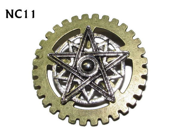 Badge / Brooch, NC11, Double Pentagram, Gear backing, (40mm dia.)