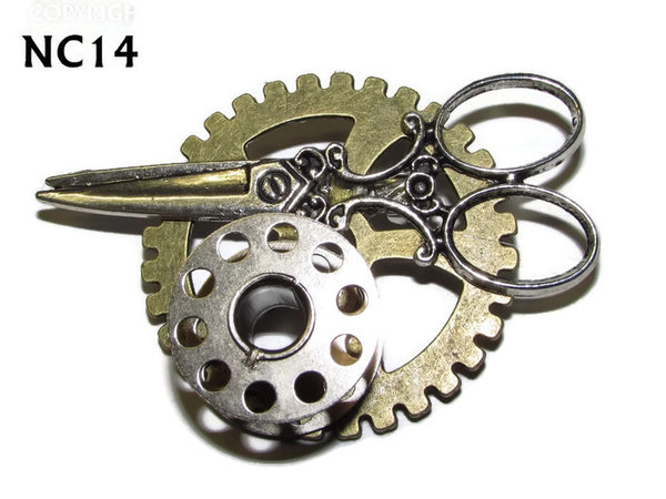 Badge / Brooch, NC14, Scissors & Bobbin Silver ,Gear backing, (40mm dia.)