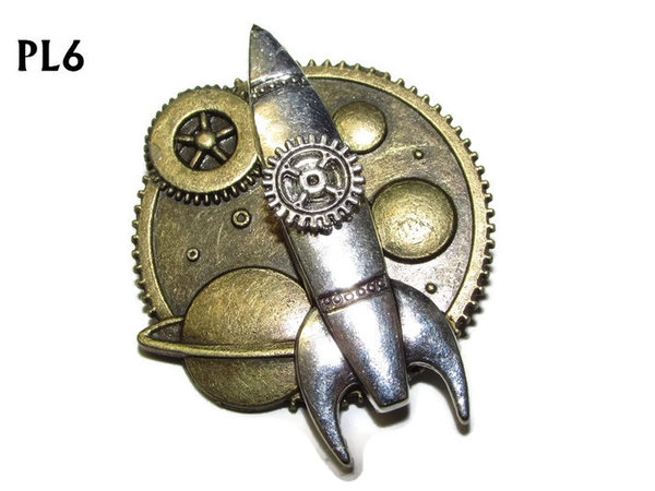 Badge / Brooch, PL06, Rocket silver, Planets setting, (37x37mm approx)