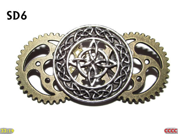 Badge / Brooch, SD06, Witch's Knot, Double Gears, (48x25mm approx)