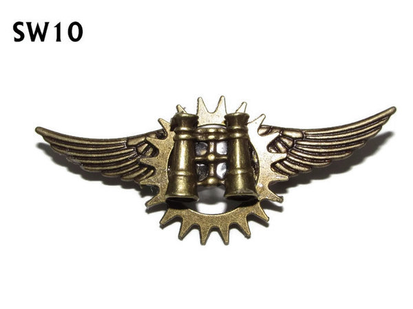Badge / Brooch, SW10, Binoculars, bronze standard wings, (55mm wide approx)