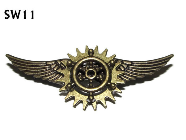 Badge / Brooch, SW11, Ships Wheel, bronze standard wings, (55mm wide approx)