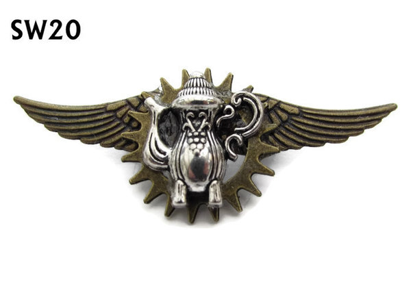 Badge / Brooch, SW20, Coffee pot, bronze standard wings, (55mm wide approx)
