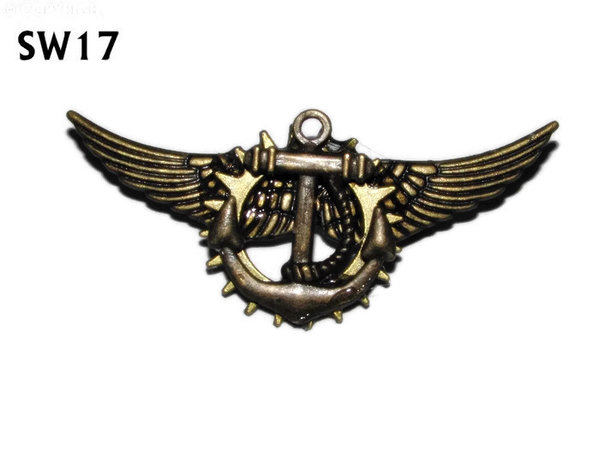 Badge / Brooch, SW17, Anchor, bronze standard wings, (55mm wide approx)