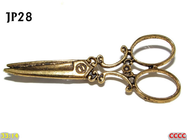 Badge / Brooch, JP28, Gold coloured Scissors