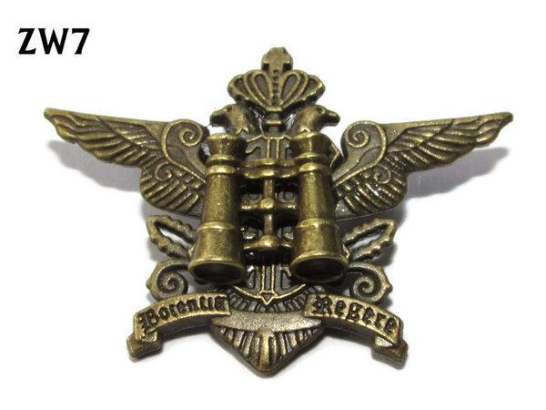 "Badge / Brooch, ZW07, Binoculars, ""Crown"" wings. (43mm wide)"