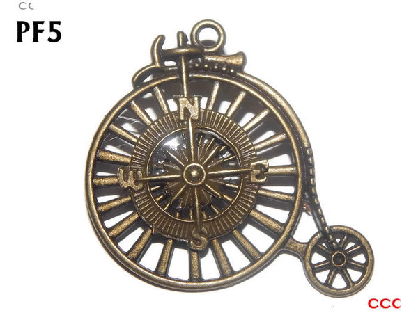 Badge / Brooch, PF05, Compass bronze, bronze Penny Farthing (50x46mm)