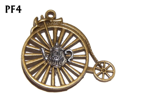 Badge / Brooch, PF04, Teapot, bronze Penny Farthing (50x46mm)