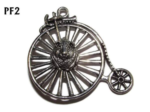 Badge / Brooch, PF02, Hamster Wheel! Silver Penny Farthing (50x46mm)