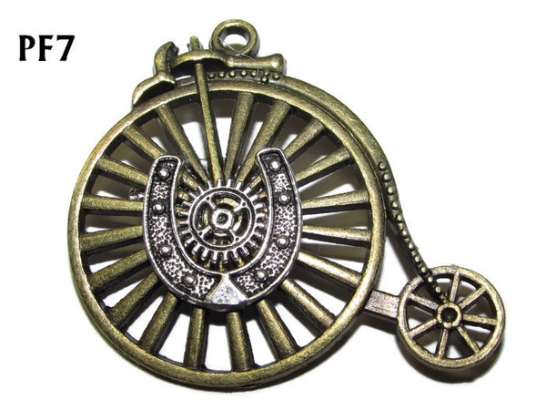 Badge / Brooch, PF07, Horseshoe, bronze Penny Farthing (50x46mm)