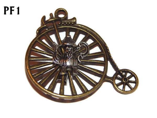Badge / Brooch, PF01, Coffee Pot, bronze Penny Farthing (50x46mm)