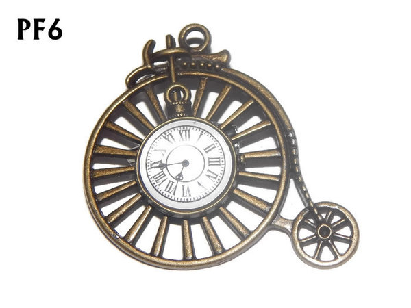 Badge / Brooch, PF06, Clock, bronze Penny Farthing (50x46mm)