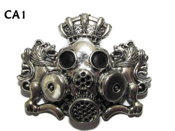 Badge / Brooch, CA01, Gasmask, Coat of Arms. (46x32mm)