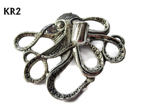 Badge / Brooch, KR02, Medium Silver Kraken with pipe(49x40mm*)