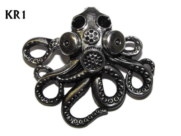 Badge / Brooch, KR01, Large Silver Kraken with Gas Mask (57x49mm*)