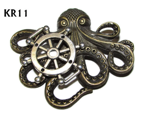 Badge / Brooch, KR11, Large Bronze Kraken with Ships Wheel(57x49mm*)