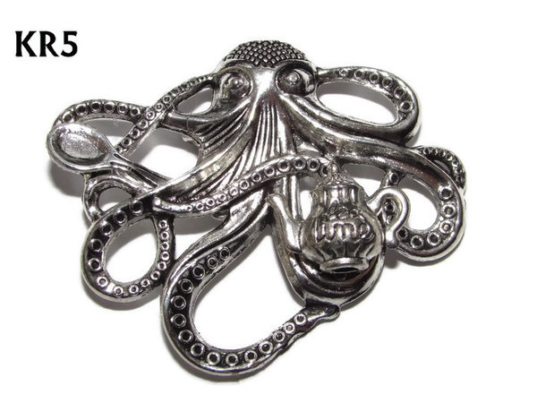 Badge / Brooch, KR05, Medium Silver Kraken with Tea! (49x40mm*)