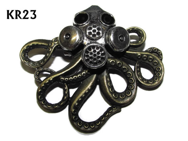 Badge / Brooch, KR23, Large Bronze Kraken with Gas Mask (57x49mm*)