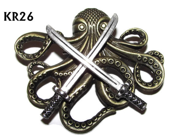 Badge / Brooch, KR26, Large Bronze Kraken with Swords (57x49mm*)