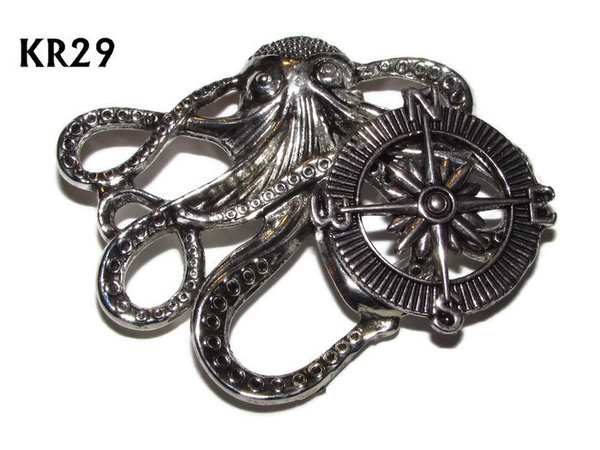Badge / Brooch, KR29, Medium Silver Kraken with Silver Compass(49x40mm*)