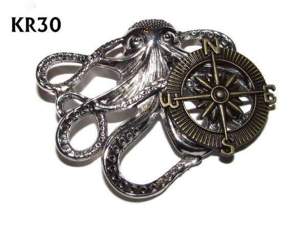 Badge / Brooch, KR30, Medium Silver Kraken with Bronze Compass (49x40mm*)