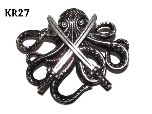 Badge / Brooch, KR27, Large Silver Kraken with Swords(57x49mm*)