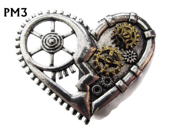 "Badge Brooch, PM03, ""Clockwork"" Heart"