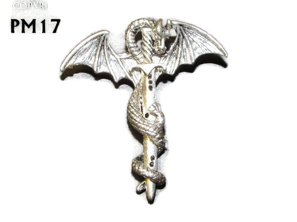 Badge / Brooch, PM17, Sword & Dragon - Silver