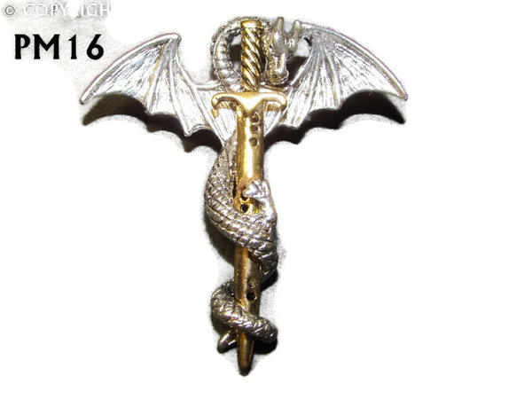 Badge  / Brooch, PM16, Sword & Dragon - Gold